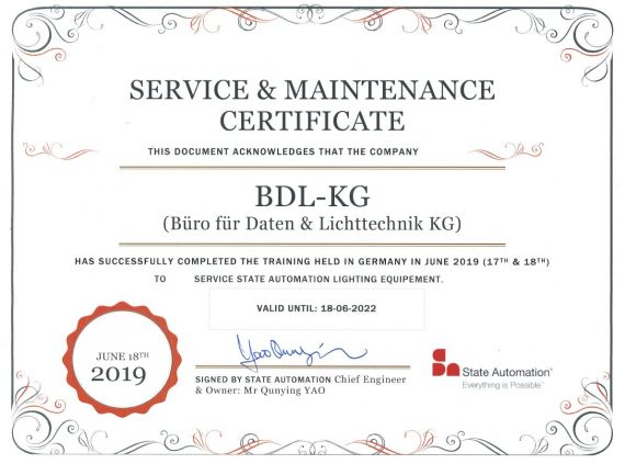 BDL-KG Germany, Service & Maintenance Certificate - State Automation Lighting Equipment